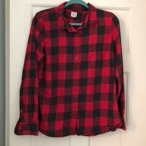 Jcrew red and black checkered button down